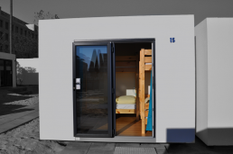 exterior view of a 4-bed cube with bunk beds